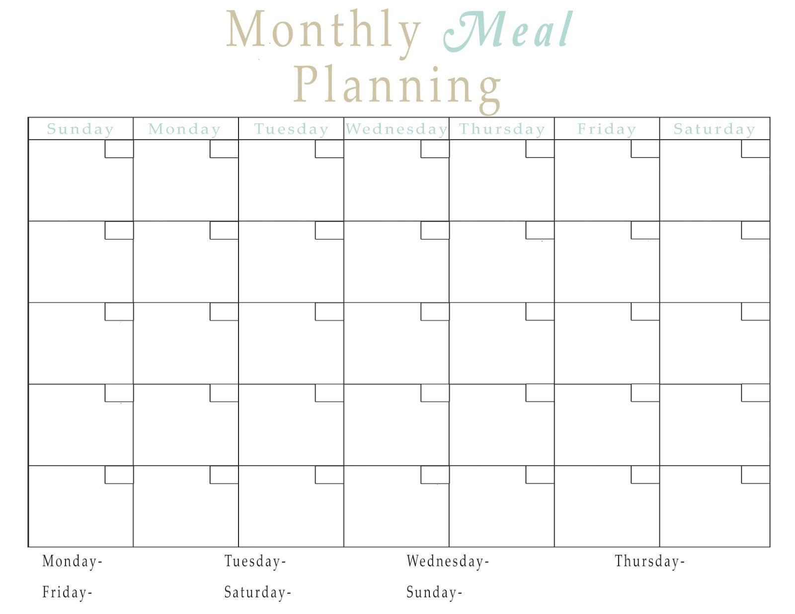 Montly meal plan NO logo